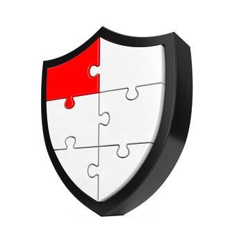 Abstraktes puzzle-schild-symbol mit einem roten segment auf weißem hintergrund. 3d-rendering Premium Fotos