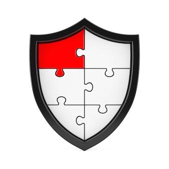 Abstraktes puzzle-schild-symbol mit einem roten segment auf weißem hintergrund. 3d-rendering