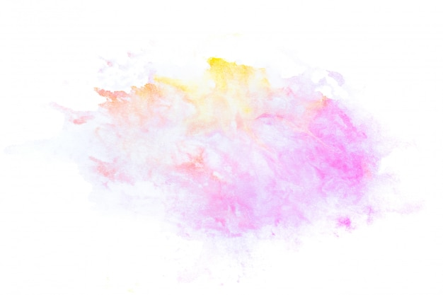 Abstraktes rosa aquarell auf weißem hintergrund