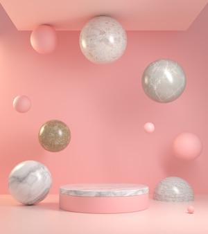 Abstraktes rosa hintergrund-podium mit dem marmor, der zur decke 3d schwimmt, rendern