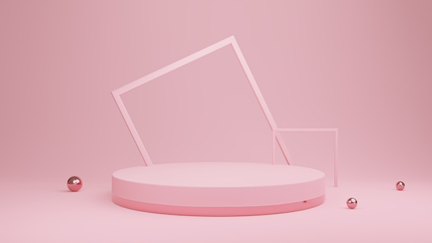 Abstraktes rosa podium mit quadratischen bögen