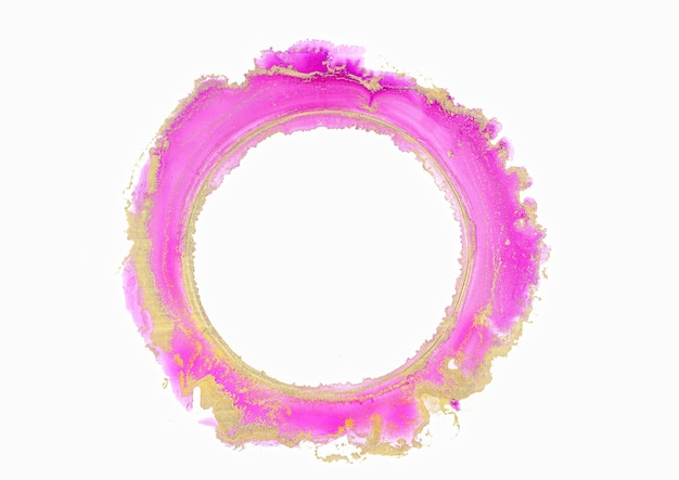 Abstraktes rosa und goldenes aquarell, kreis, tinte pinselstriche isoliertes design