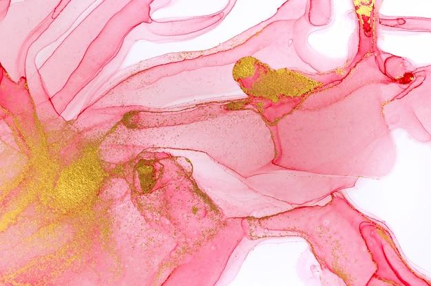 Abstraktes rot auf weißem hintergrund. rosa und goldenes aquarellmuster.