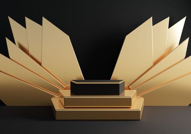 Abstraktes schwarzes geometrisches podium mit goldener dekoration auf schwarzem hintergrund.