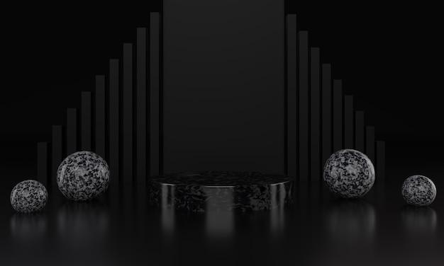 Abstraktes schwarzes geometrisches podium mit schwarzem zylinder