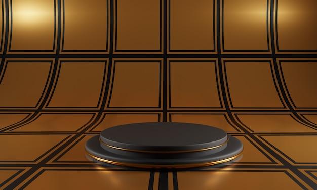 Abstraktes schwarzes podium auf goldenem quadratischem musterhintergrund.