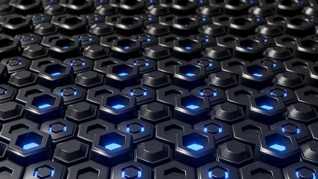 Abstraktes schwarzes sechseckiges geometrisches überlagert.