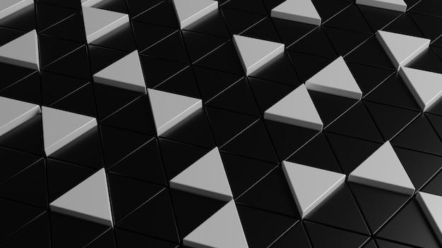 Abstraktes schwarzweiss-dreieckhintergrund 3d