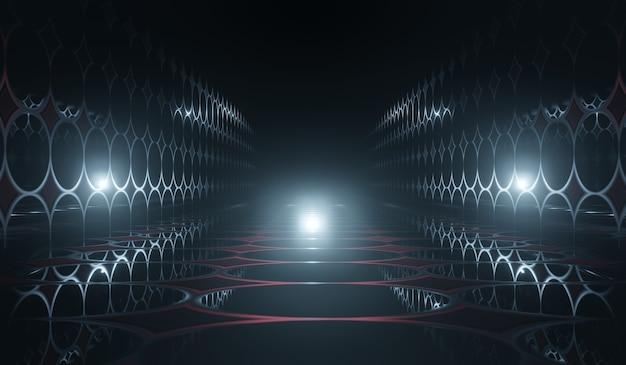 Abstraktes science-fiction-zimmer 3d mit blauem lichthintergrund. 3d-illustration.
