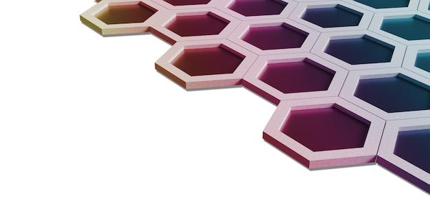 Abstraktes sechseck in verschiedenen farben rainbow wabenwand technologie hintergrund 3d-darstellung