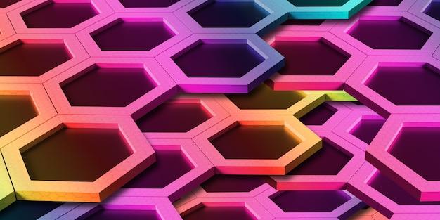 Abstraktes sechseck verschiedener farben regenbogenwabenwand technologie hintergrund 3d illustration
