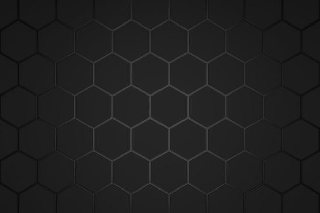 Abstraktes sechseckmuster auf dunklem hintergrund mit futuristischem konzept.