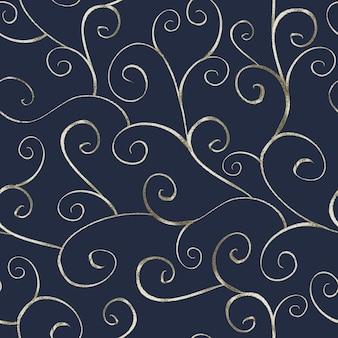 Abstraktes silbernes nahtloses muster im orientalischen stil auf marineblauem hintergrund. kann für tapeten, verpackungen, textilien, webseitenhintergrund verwendet werden.