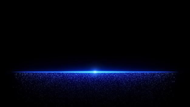 Abstraktes teilchenlicht des blauen horizonts mit fließendem staub