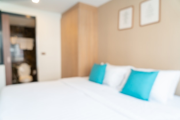 Abstraktes unschärfebett im schlafzimmer für hintergrund