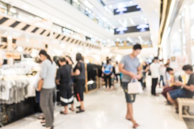 Abstraktes unschärfeeinkaufszentrum und einzelhandel speichern innenraum für hintergrund