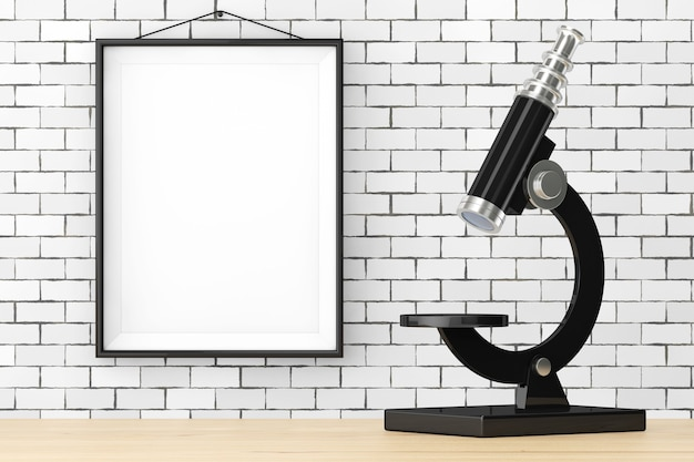 Abstraktes vintage-mikroskop vor backsteinmauer mit leerem rahmen extreme nahaufnahme 3d-rendering