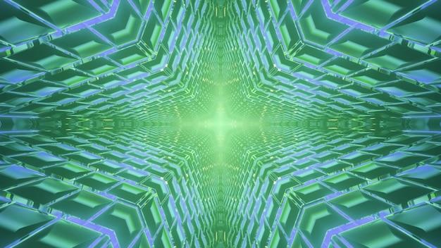 Abstraktes visuelles kaleidoskophintergrund der glänzenden 3d-illustration mit optischem täuschungseffekt des endlosen sternförmigen tunnels mit diffusen geometrischen und grünen und blauen neonlichtern