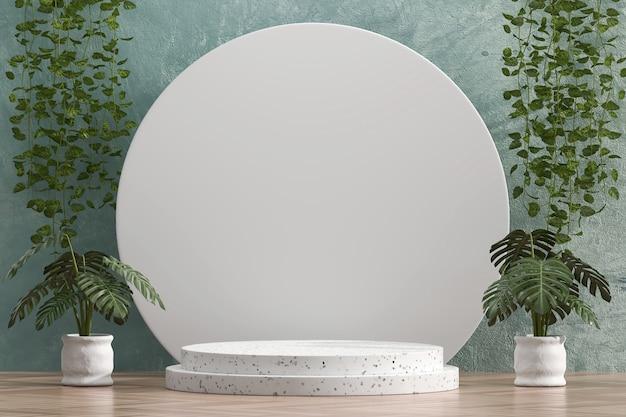 Abstraktes weißes plattformschaufenster für produktanzeige mit efeu 3d rendern