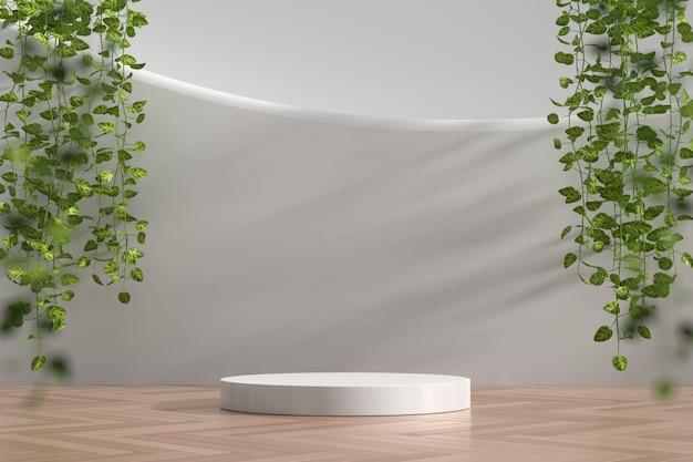 Abstraktes weißes podium-schaufenster für produktanzeige mit efeu 3d rendern