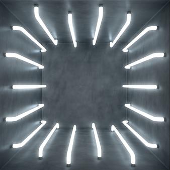 Abstraktes weißes rauminnere der 3d-illustration mit weißer leuchtneonlampe