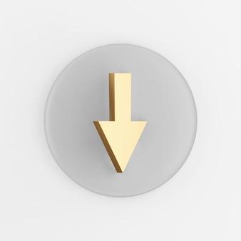 Abwärtspfeil goldenes symbol. grauer runder schlüsselknopf des 3d-renderings, schnittstelle ui ux element.