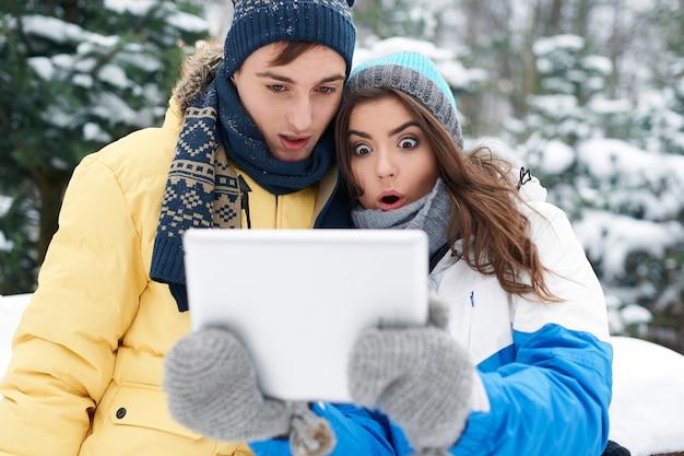 Ach nein! unser digitales tablet funktioniert an diesem kalten tag nicht