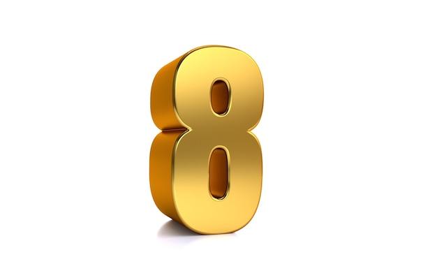 Acht 3d-darstellung goldene zahl 8 auf weißem hintergrund und kopienraum auf der rechten seite für text am besten für jubiläums-geburtstags-neujahrsfeier