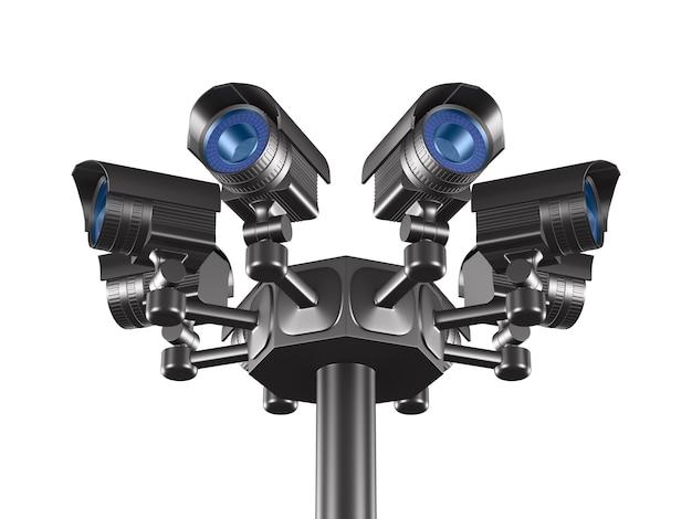 Acht überwachungskameras. isoliertes 3d-rendering
