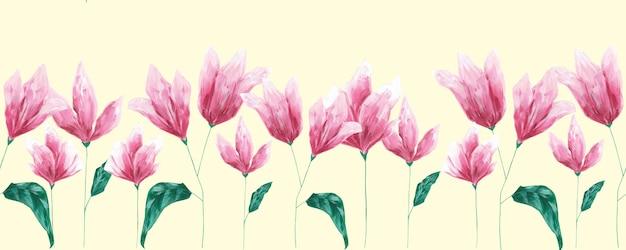 Acryl handgezeichnete rosa blumen nahtlose grenze auf hellgelbem hintergrund