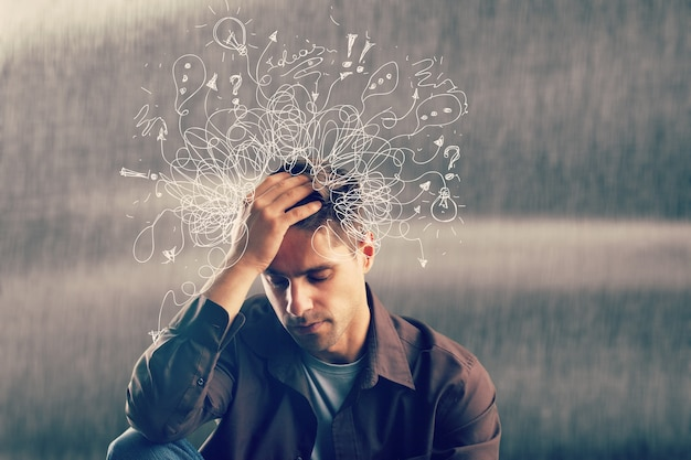 Adhd stress angst erwachsener harter mann durcheinander