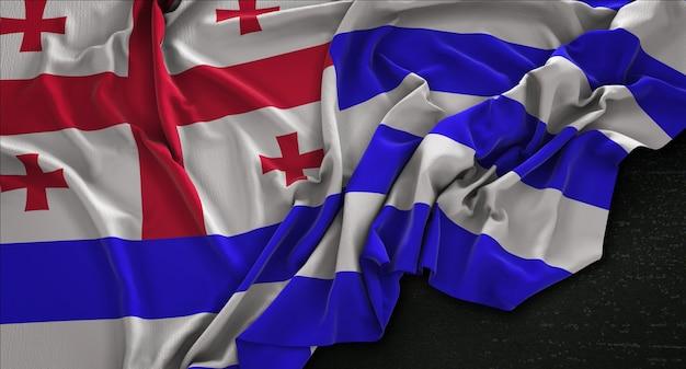 Adjara-flagge, die auf dunklem hintergrund verstreut ist 3d render