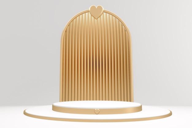 Adstract gold und weiß podium minimale design-produktszene. 3d-rendering