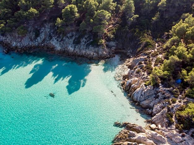 Ägäische seeküste mit blauem transparentem wasser, grün herum, felsen, büsche und bäume, blick von der drohne, griechenland