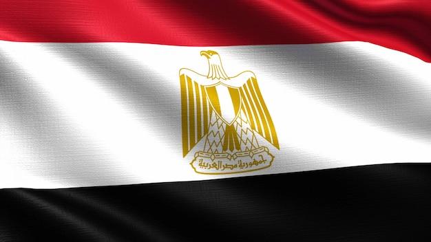 Ägypten flagge, mit wehenden stoff textur