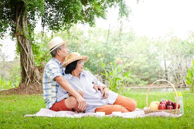 Ältere asiatische paare sitzen zum picknick und entspannen sich im park