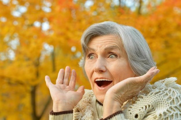 Ältere frau, die im herbst im park spazieren geht