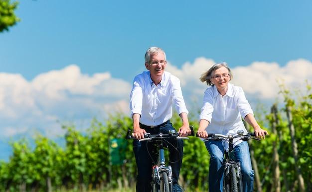 Ältere frau und mann, die fahrrad im sommer im weinberg verwenden