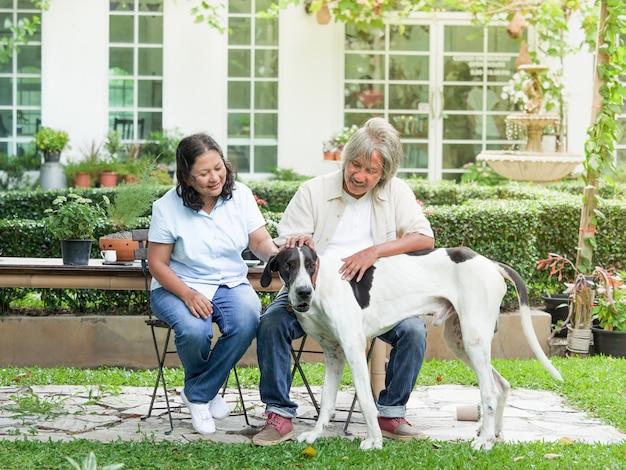 Ältere paare, die mit großem hund im hausgarten spielen.