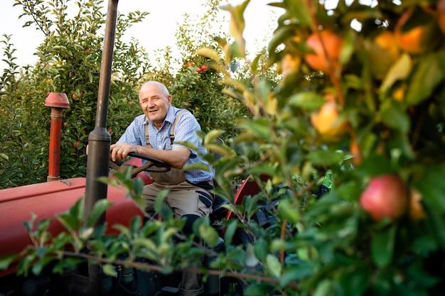 Älterer arbeiter, der seine alte traktormaschine im retro-stil durch apfelgarten fährt