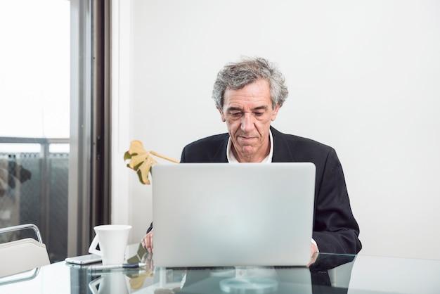Älterer geschäftsmann unter verwendung des laptops im büro