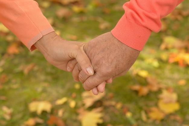 Älteres ehepaar händchen haltend im herbstpark