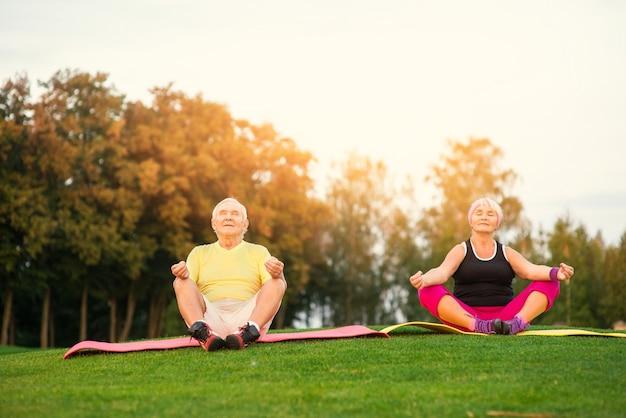 Älteres paar beim yoga