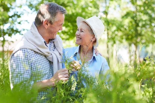 Älteres paar, das die natur genießt