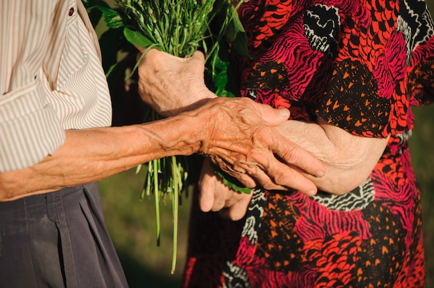 Älteres paar, das hände hält, während es zusammen im freien steht