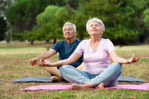 Älteres paar, das yoga macht