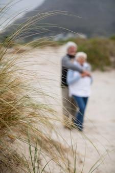 Älteres paar, das zusammen am strand steht