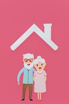 Älteres paar unter einem dach