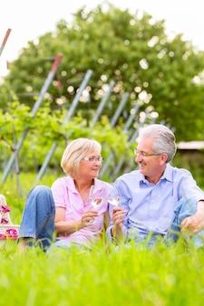 Älteres paar von mann und frau, die picknick auf sommerwiese trinken wein im weinberg haben