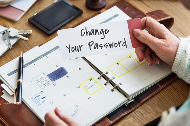 Ändern sie ihr passwort datenschutzrichtlinie schutz sicherheitssystem konzept